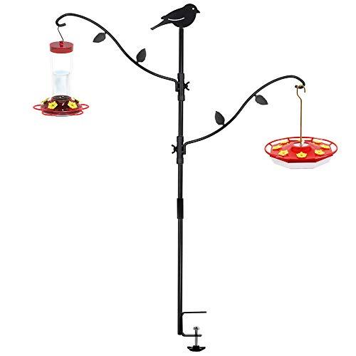 yosager Deck Bird Feeder Pole Bird Feeding Station Kit Porch Multi Hook Bird Feeder Hooks Hanging Kit for Deck Kit with Two Adjustable Branches, Attracting Wild Birds Bird Feeder Planter Hanger