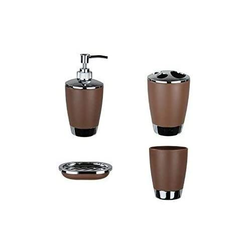 MeRaYo 4 Pieces Bathroom Accessory Set - Liquid Hand Wash/Shampoo Dispenser, Tooth Brush Holder, Paste Tumbler & Soap Dish (Brown Color)