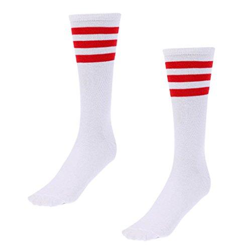 Gazechimp Unisex Sportsocken Tennissocken Golf Joggen Fitness Sport Socken - Weiß + Rot Streifen, S