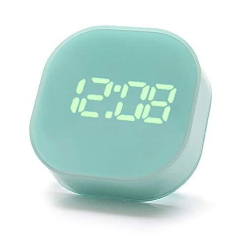 Sveglia Digitale da comodino, Piccola Sveglie Digitali Viaggio LED Bedside Alarm Clock con la Funzione di Countdown Timer Cucina Magnetico, Dual Allarmi, USB/Batteria Alimentazione, 12/24H,℃/℉ (Verde)