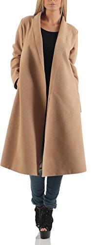 Malito Lungo Cappotti Cascata-Design Cardigan Basic 3050 Donna Taglia Unica (Camel)