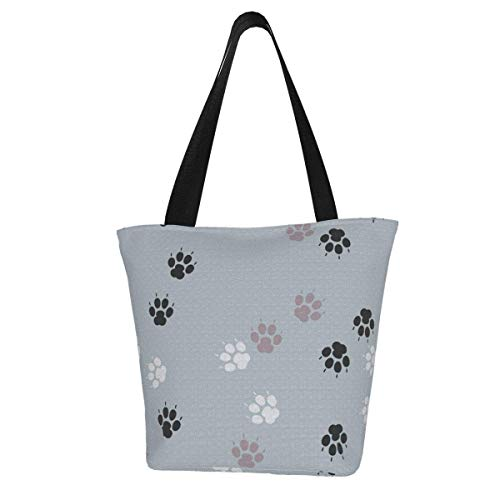 Paw Print Traces Cat Textile Abstract Women's Large Capacity Tote Shoulder Work Bag Handbags Satchel Purse 11 X 7 X13 In