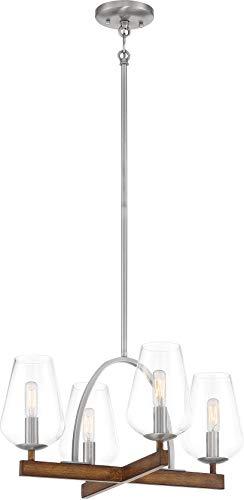 Minka Lavery 1064-699 Birnamwood Clear Glass Convertible Pendant/Semi Flush Ceiling Lighting, 4-Light 240 Total Watts, Koa wood with Pewter, 16