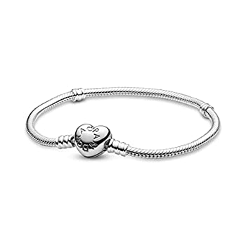 Pandora Jewelry Moments Heart Clasp Snake Chain Charm Sterling Silver Bracelet 6.3