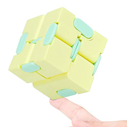 WUQID Infinity Cube Fidget Toy Stress Relieving Fidgeting Game for Kids and Adults,Cute Mini Unique Gadget for Anxiety Relief and Kill Time (Macaron Yellow)