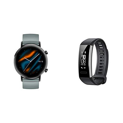 Smartwatch Huawei Watch GT 2 (42 mm), Durata della batteria fino a 1 settimana, GPS, 15 modalità di allenamento + Huawei Band 2 Pro Smartwatch, Display da 0.91 , Resistente all acqua fino a 5 ATM