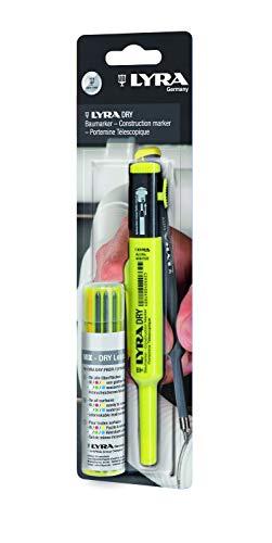 Lyra L4498001 Tieflochmarker Dry Marker mit Ersatzminen, Set mit 12 Minen (Farben rot, gelb, Graphit, weiß, grün, blau), mit Spitzer – 4498001