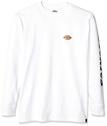 Dickies Men's Long Sleeve Logo Graphic Tee, White, XL