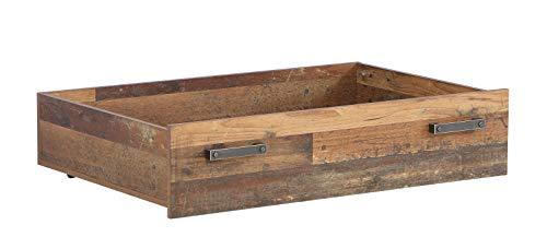 FORTE Jugendzimmer Bettschubkasten in trendigem Industrial Look, Old Wood Vintage Dekor Und Beton Dunkel, One Size