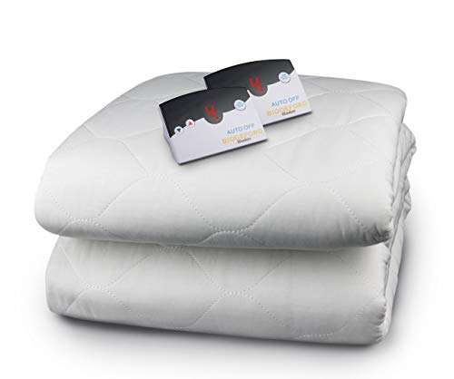 Biddeford Blankets Quilted Electric Heated Mattress Pad with Digital Controller, Queen, White