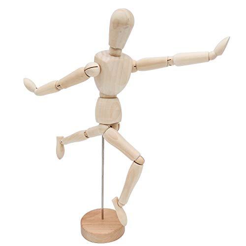 Bakiauli Maniquí Articulado para Dibujo, Base de Cinturón de Herramientas Modelo de Madera Flexible y Ajustable de Dibujo Auxiliar Adecuado para Principiantes y Profesionales