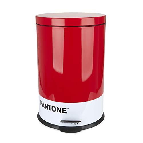 Balvi Cubo Basura Pantone Color Rojo Cubo de 20L de Capacidad para Cocina, habitación u oficinas con Pedal Diseño Bonito y Original Reciclar Metal 44x29,2x29,2 cm