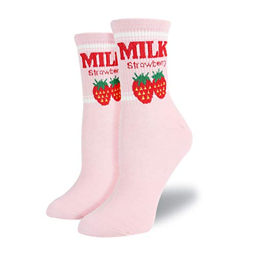 NNGUBIU Kawaii Sweet Women es Socks Funny Cute Cream Candy Color Milk Strawberry Socken For Girl Christmas Gift Japanese Harajuku Funny Socks Calcetines Mujer