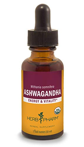 Herb Pharm Certified Organic Ashwagandha Extract for Energy and Vitality, Organic Cane Alcohol, 1 Ounce