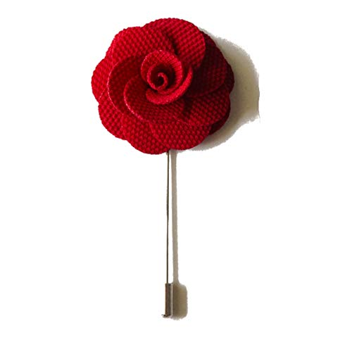 Sunny Home Men's Lapel Flower Stick Brooch Pin Boutonniere Pin for Suit Tuxedo Corsage (Red)