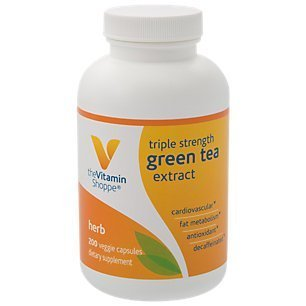 Triple Strength Green Tea Extract 750mg Capsules with EGCG – A Natural Antioxidant to Support Fat Metabolism – Fights Free Radicals – Decaffeinated (200 Vegetarian Capsules) by The Vitamin Shoppe