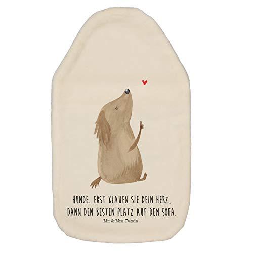 Mr. & Mrs. Panda Körnerkissen, Wärmekissen, Wärmflasche Hund Liebe mit Spruch - Farbe Weiß