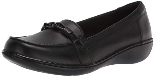 Clarks Women's Ashland Ballot Leather-9W Loafer, Black Leather