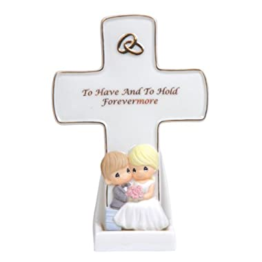 Precious Moments Porcelain Wedding Cross With Stand