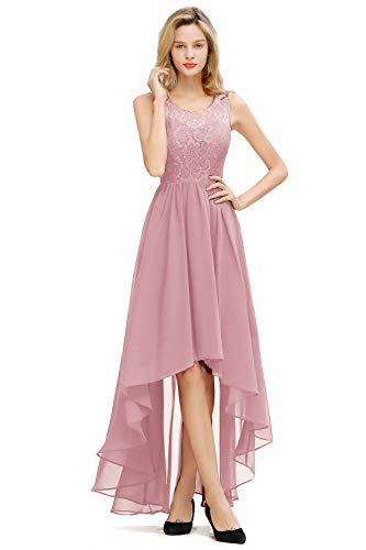 Babyonlinedress® Damen Empire Kleid Spitzen Spleiß Chiffon Bodenlänge Formell Maxikleid Brautkleid Weihnachten Kleid Hochzeitskleider, Altrosa, 42