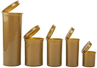 """Loud Lock - Pop Top Dram Bottles - (Gold)- Packaging Supplies - 19 Dram - 225 Per Case (2.75"""" Deep X 1.5"""" Wide) - Dry Herb Containers - Child Resistant Smell Proof Container - Pill Vials - Rx Vial"""