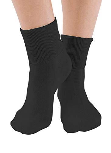 6 Pair Women's Black Buster Brown Elastic-Free Cotton Socks - Sock Size 10 - Fits Shoe Sizes 7.5-9