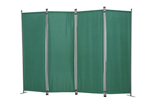 Angel Living Paravent 4tlg Sichtschutz,Faltbildschirm Raumteiler Sichtschutz aus Stahl und Polyester (Grün)