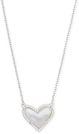 Kendra Scott Ari Heart Pendant Necklace for Women Fashion Jewelry Rhodium Plated White Mother product image