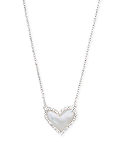 Kendra Scott Ari Heart Pendant Necklace for Women, Fashion Jewelry, Rhodium-Plated, White Mother-of-Pearl