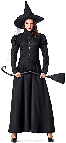 Soyoekbt Women's Wicked Witch Costume for Halloween Cosplay Costume Adult L Black
