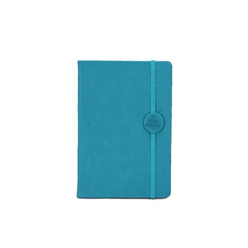 Cuaderno de oficina con rayas de cuero con cuaderno de papel grueso con banda de tapa dura para cuadernos escolares, cuadernos retro (color azul)