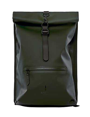RAINS roll top rucksack Green One Size