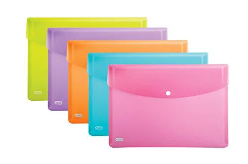 Elba 400102032 Urban Sobres con Broche A4, Pack de 5 unidades, Colores Vivos, Plástico Translúcido