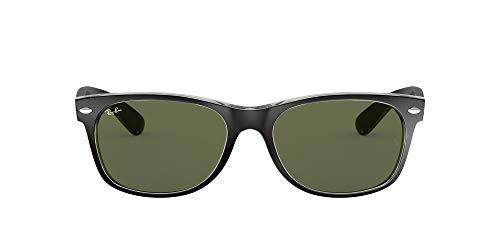 Ray-Ban Unisex - Erwachsene Sonnenbrille New Wayfarer, Gr.52mm (Gestell: Schwarz,Transparent; Gläser: grün)