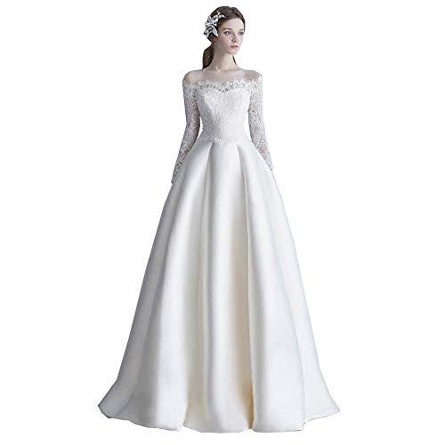 roroz EIN Wort Schulter Hochzeitskleider FüR Damen Lang Prinzessin, Brautkleid Lang Mit äRmeln, Spitze Satin Weiß Langes Kleid, Anpassbar,XXL