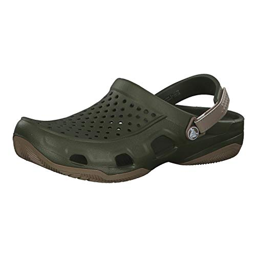 crocs Swiftwater Deck Clog Men, Zuecos para Hombre, Verde (Army Green/Khaki 354), 39/40 EU