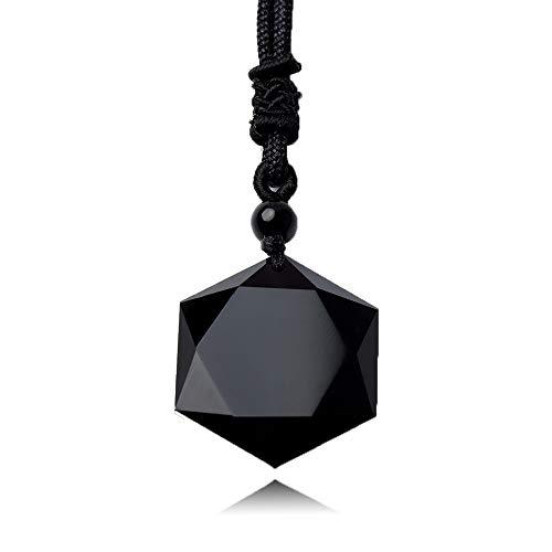 AKIEE Collar para Hombre y Mujer de Piedra Obsidiana Amuleto de Sanación y Curación Hexagrama Estrella de David Hexagrama (Obsidiana)
