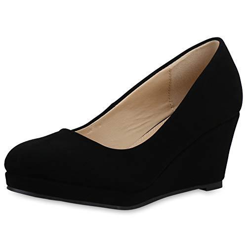 SCARPE VITA Damen Pumps Keilpumps Klassische Keilabsatz Schuhe Leder-Optik Wedges Basic Absatzschuhe 183848 Schwarz 39