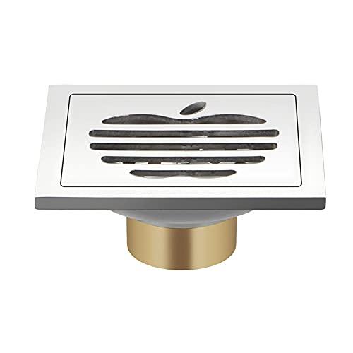 CWLLWC Shower DesagüE De Ducha Cuadrado, Proposito Doble Piso Cuadradode Drenaje Acero Inoxidable Y LatóN Canaleta Desodorante para BañO (100mm × 100mm)