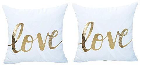2 kussenslopen vierkant kussen - sierkussen - 44 x 44 cm - bank - linnen - huis - bed - meubels - slaapkamer - liefde - wit - goud bedrukt - origineel cadeau idee love