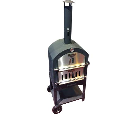 Harbor Gardens KUK002B Monterey Pizza Oven with Stone, Stainless/Enamel Coated Steel,51.25' H X 23.5' W X 16.5' D,Black