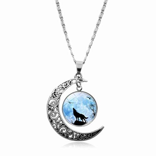 GMYQ Wicca Jewelry-4 - Collar con colgante de estrella de pentáculo (plata envejecida)