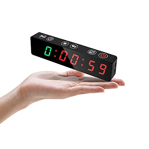 Jhering Mini Portable Gym Workout Timer, Interval Timer with Rechargeable and Built-in Magnetic Spine, LED Digital Clock for Home Garage EMOM Tabata (Green/Red)