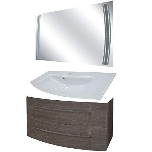FACKELMANN bruine badkamermeubelset 3-TLG. Rondo met wastafel onderkast hangend glazen wastafel 100 cm & LED badkamerspiegel