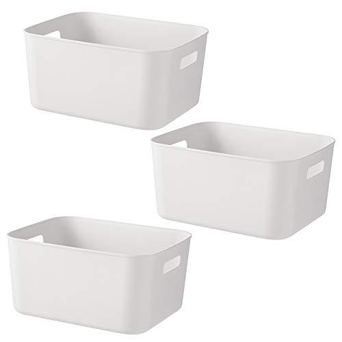 Scatole portaoggetti rettangolari, set di 3 cestini da studio in plastica per cucina, casa, ufficio, bagno, 28 x 20 x 9,5 cm