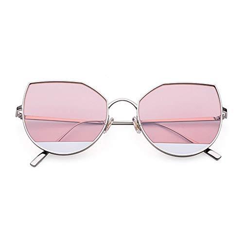 Raxinbang Gafas de Sol Ultraligero Puro Titanio Ojo De Gato Gafas De Sol De Moda Señoras Salvajes Gafas De Sol Marco De Plata Lente Rosa Protección UV400