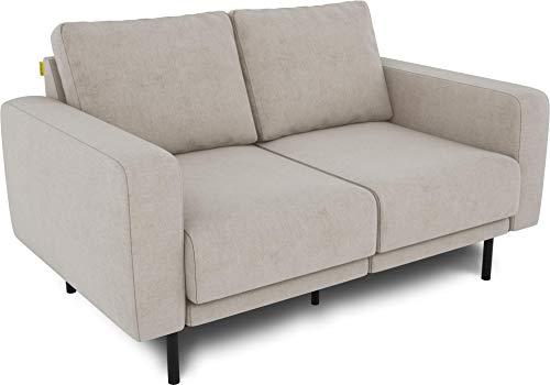 KAUTSCH Mette Zweisitzer Sofa für Wohnzimmer zerlegbar - Couch 2-sitzer- Polstersofa - B 150 cm - ohne Longchair, créme-beige - mit Metallfüße