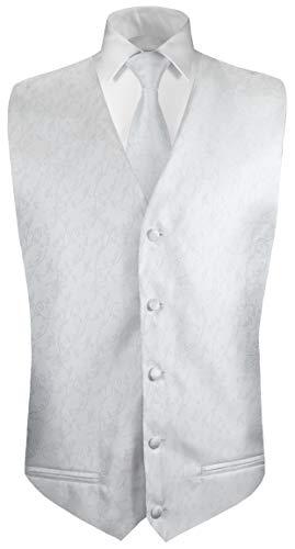 Paul Malone Hochzeitsweste + Krawatte weiß Silber floral - Bräutigam Hochzeit Herren Weste Gr. 50 S