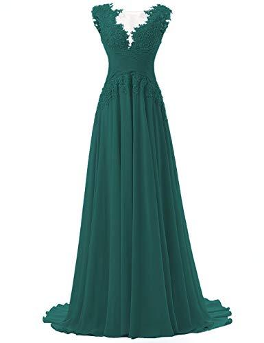Abendkleider Lang A-Linie Ballkleider Chiffon Brautmutterkleider Spitzen Hochzeitskleid Empire Festkleider Pfau 52
