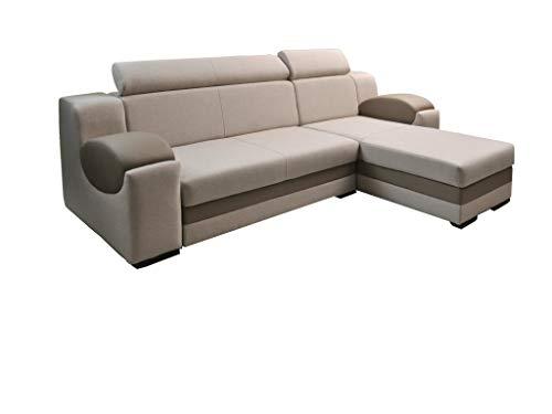 mb-moebel Ecksofa Sofa Eckcouch Couch mit Schlaffunktion und Bettkasten Ottomane L-Form Schlafsofa Bettsofa Polstergarnitur Mercury (Ecksofa Rechts, Creme)